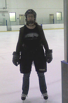 Jill in some of her hockey gear